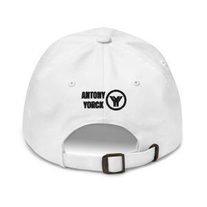 dad cap strapback white yy black low profile curved visor back view