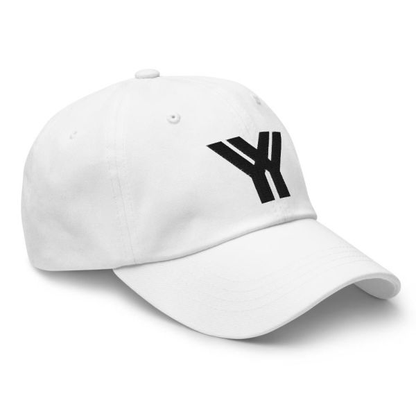 dad cap strapback white yy black low profile curved visor side view right
