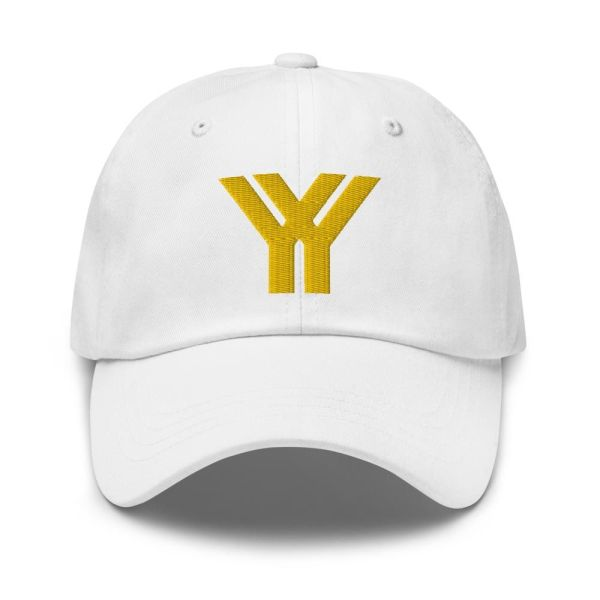 dad cap strapback cap white yy gold low profile curved visor front view