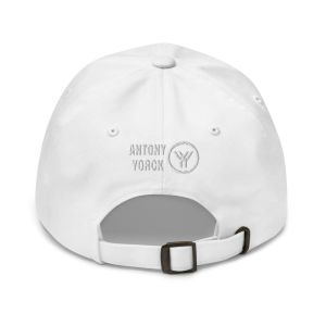 dad cap strapback cap white yy white low profile curved visor back view