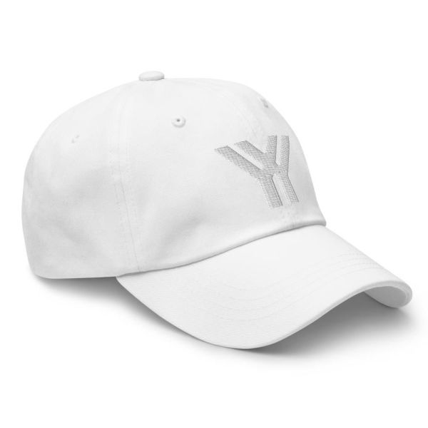 dad cap strapback cap white yy white low profile curved visor side view right