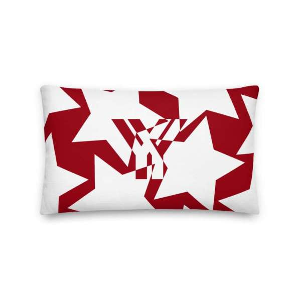 Dekoratives Sofa Kissen • Throw Pillow • Stars White on Red 3 mockup 1e9b2b74