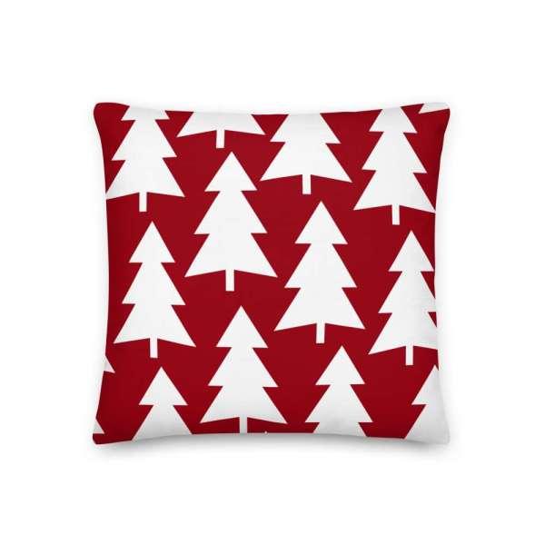 Dekoratives Sofa Kissen • Throw Pillow • Trees White on Red 2 mockup 399d91d0