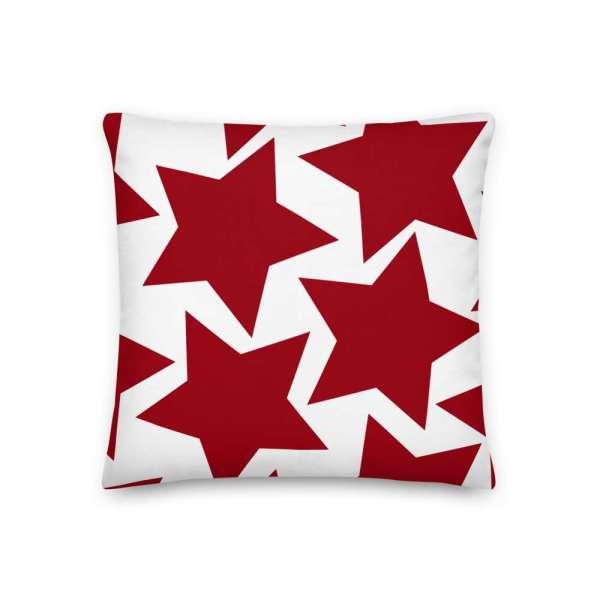 Sofakissen Sterne rot auf weiß 2 mockup 3c15601d