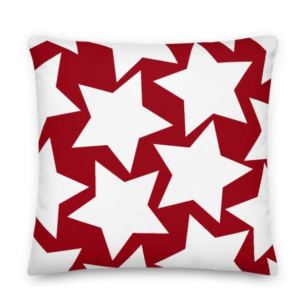 Dekoratives Sofa Kissen • Throw Pillow • Stars White on Red 6 mockup 4f42a679