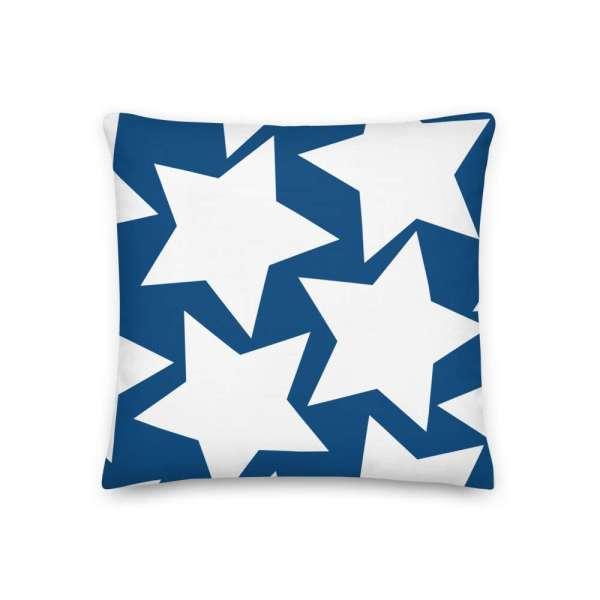 Dekoratives Sofa Kissen • Throw Pillow • Stars White on Blue 2 mockup 6c78450f