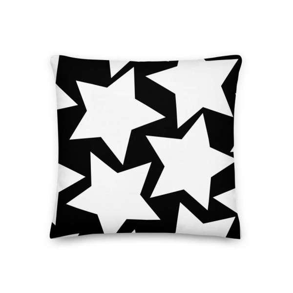 Dekoratives Sofa Kissen • Throw Pillow • Stars White on Black 2 mockup 6d443e4b