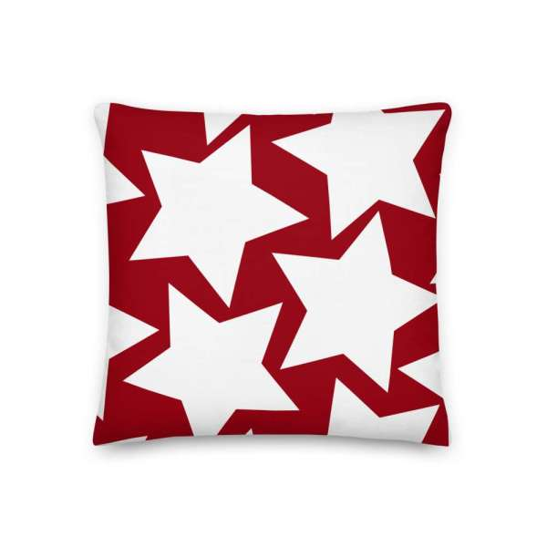 Dekoratives Sofa Kissen • Throw Pillow • Stars White on Red 2 mockup 7d055067