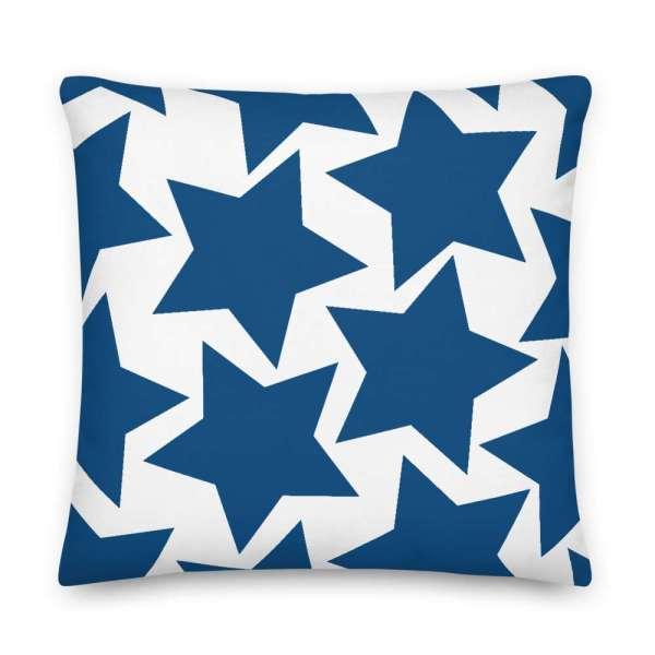 Dekoratives Sofa Kissen • Throw Pillow • Stars Blue on White 6 mockup 82b92632