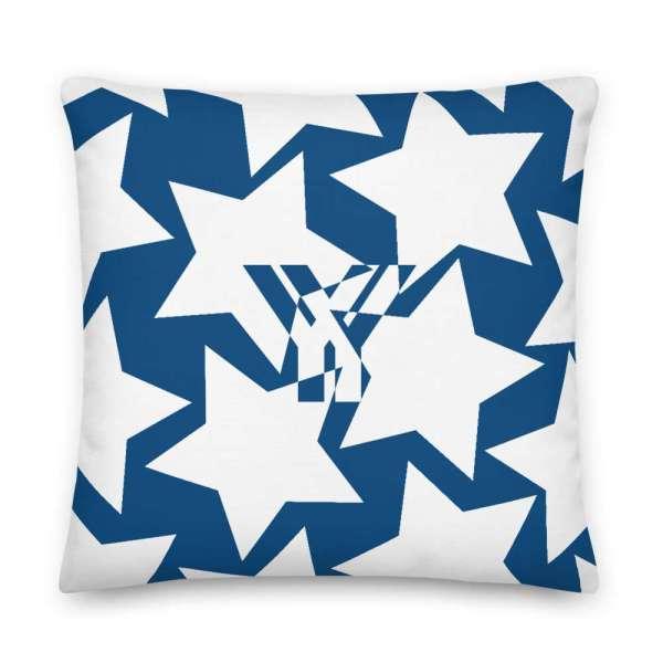 Dekoratives Sofa Kissen • Throw Pillow • Stars White on Blue 5 mockup 964f8730