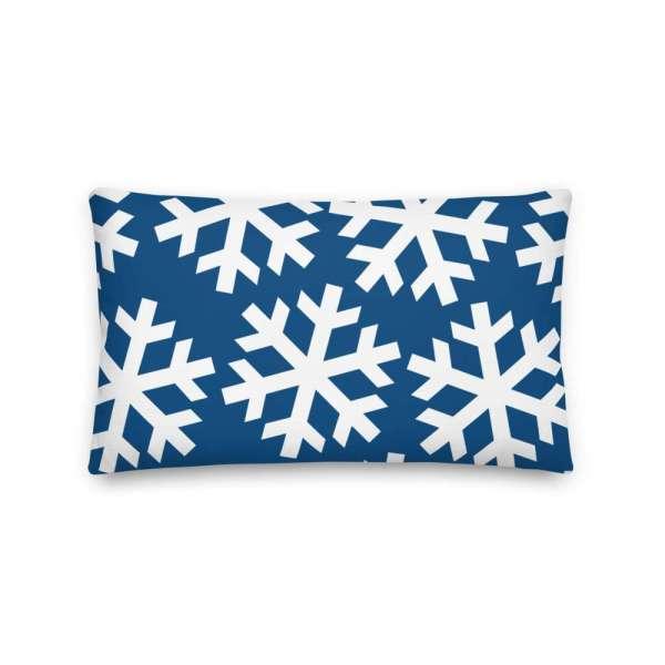 Dekoratives Sofa Kissen • Throw Pillow • Snowflakes White on Blue 4 mockup 9de1c62f