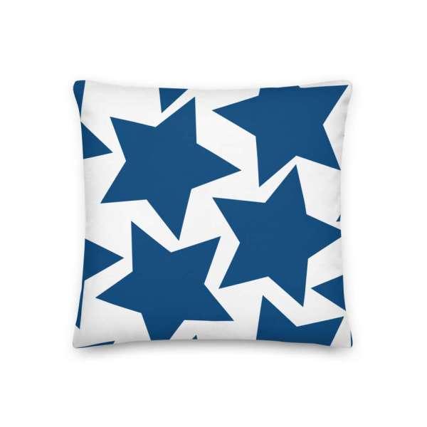 Dekoratives Sofa Kissen • Throw Pillow • Stars Blue on White 2 mockup ae280249
