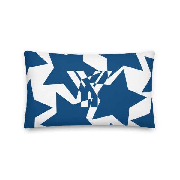 Dekoratives Sofa Kissen • Throw Pillow • Stars Blue on White 3 mockup af147695