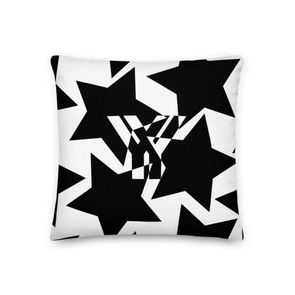 Dekoratives Sofa Kissen • Throw Pillow • Stars Black on White 1 mockup b048a66c
