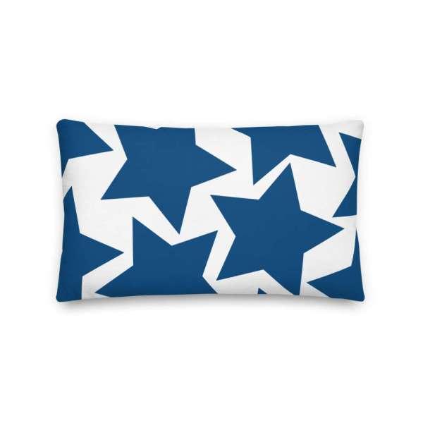 Dekoratives Sofa Kissen • Throw Pillow • Stars Blue on White 4 mockup c4f46ea3