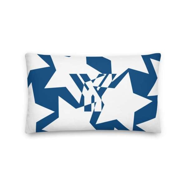Dekoratives Sofa Kissen • Throw Pillow • Stars White on Blue 3 mockup c6ccd3ee