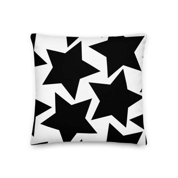 Dekoratives Sofa Kissen • Throw Pillow • Stars Black on White 2 mockup cbb3bfeb