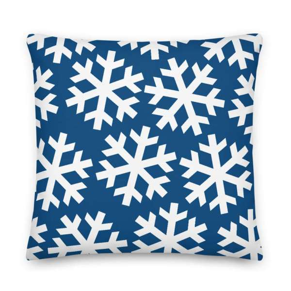 Dekoratives Sofa Kissen • Throw Pillow • Snowflakes White on Blue 6 mockup e8e955c0