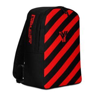 Laptoprucksack von Antony Yorck - ein Rucksack mit Laptopfach für ein 15 zoll Laptop und Geheimfach auf der Rückseite. Der Designer Rucksack ist schwarz rot schräg gestreift.