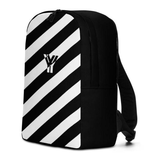 Rucksack Schrägstreifen schwarz weiß mit Laptopfach 2 rucksack backpack laptopfach pocket for laptop stripes black white 03