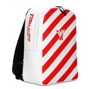Laptoprucksack von Antony Yorck - ein Rucksack mit Laptopfach für ein 15 zoll Laptop und Geheimfach auf der Rückseite. Der Designer Rucksack ist rot weiß schräg gestreift.