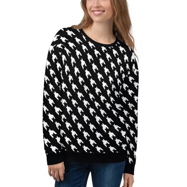 damen sweatshirt black white houndstooth 07