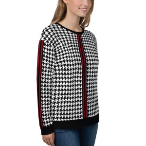 damen sweatshirt black white red houndstooth from the shop ANTONY YORCK ONLINE BOUTIQUE