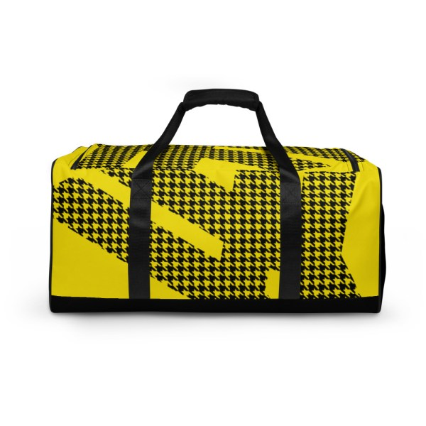 Weekender Houndstooth Logo Deluxe Lemon Black 1 all over print duffle bag white back 6057936921cbb