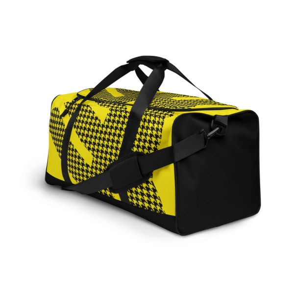 Weekender Houndstooth Logo Deluxe Lemon Black 4 all over print duffle bag white left front 6057936921ee6