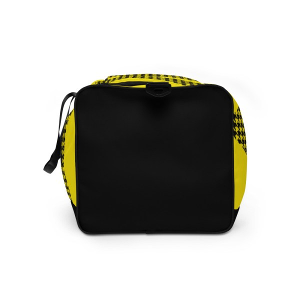 Weekender Houndstooth Logo Deluxe Lemon Black 6 all over print duffle bag white left side 605793692204c