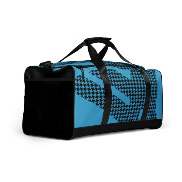 Weekender Houndstooth Logo Aqua Blue Black 3 all over print duffle bag white right front 6056546977519