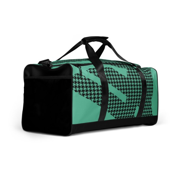 Weekender Houndstooth Logo Fresh Mint Black 3 all over print duffle bag white right front 60565ca60a279