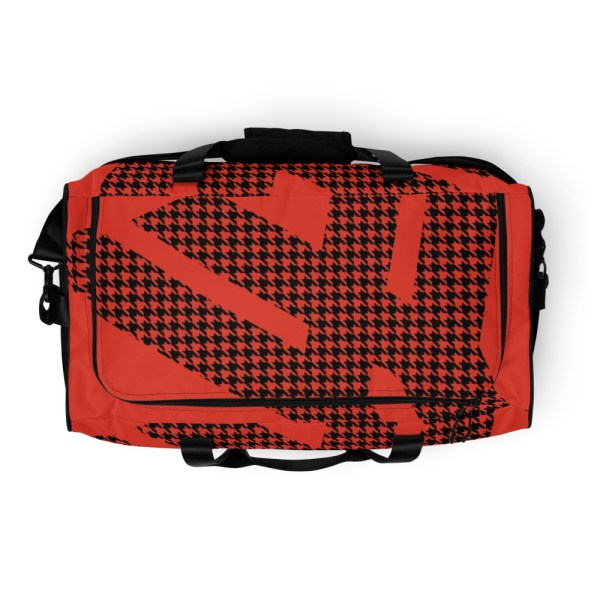 Weekender Houndstooth Logo Mandarin Red Black 7 all over print duffle bag white top 60579514a6a3e