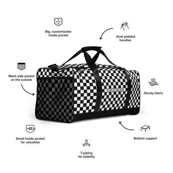 sporttasche trainingstasche karo checkers black white front left view features