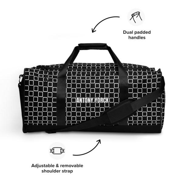 sporttasche trainingstasche karo checkers stepside black white front view features