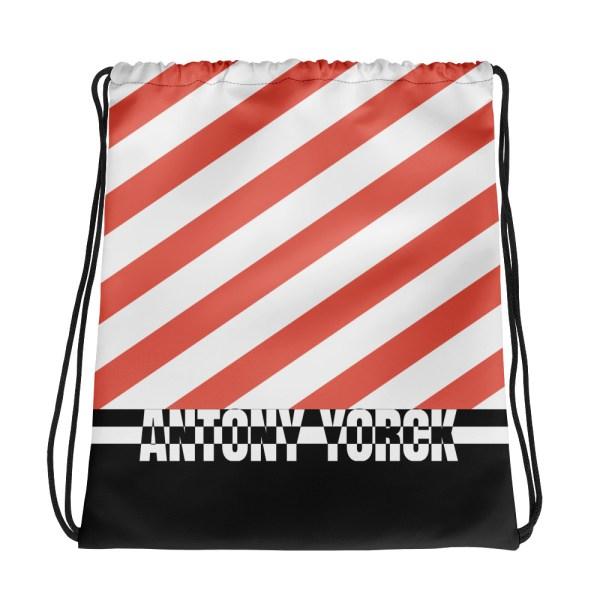 Designer Strandbeutel mit Kordelzug im Turnbeutel Design weiß rot 1 all over print drawstring bag white front 60c089229c7b6