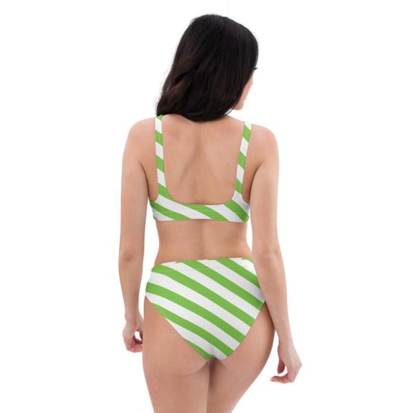 HIGH WAIST DESIGNER BIKINI STRIPES ALL OVER aus Recyclingmaterial grün weiß gestreift 4 all over print recycled high waisted bikini white back 60be5c06c697b