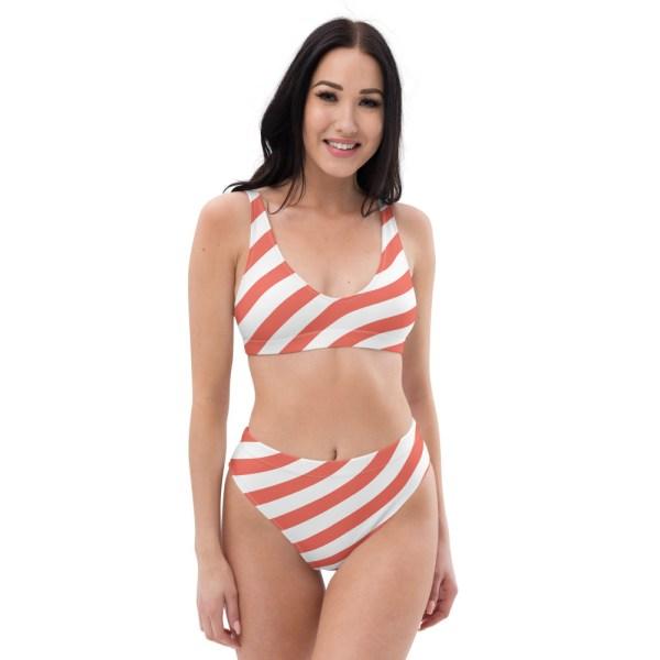 HIGH WAIST DESIGNER BIKINI STRIPES ALL OVER aus Recyclingmaterial koralle weiß gestreift 1 all over print recycled high waisted bikini white front 60be5deba5f03