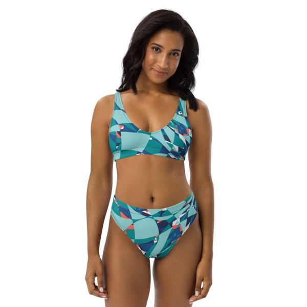 High Waist Designer Bikini aus Recyclingmaterial Under the Sea 2 all over print recycled high waisted bikini white front 60be65a6b1dff