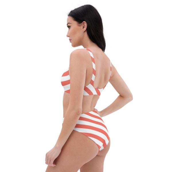 HIGH WAIST DESIGNER BIKINI STRIPES ALL OVER aus Recyclingmaterial koralle weiß gestreift 6 all over print recycled high waisted bikini white left back 60be5deba647d