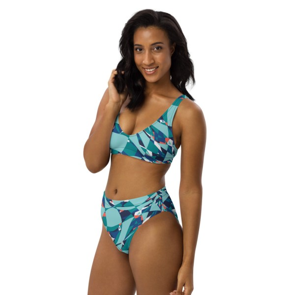 High Waist Designer Bikini aus Recyclingmaterial Under the Sea 1 all over print recycled high waisted bikini white left front 60be65a6b1baf