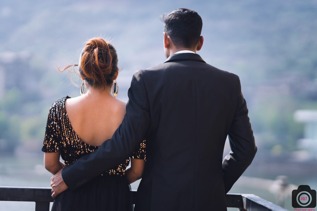 Pravin-Sweety Pre-wedding in Lavasa in black gown and blazer