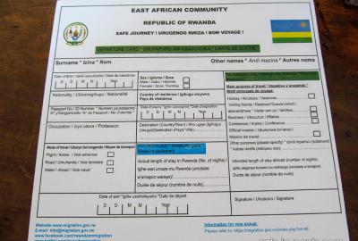 Rwanda-Uganda Border departure card