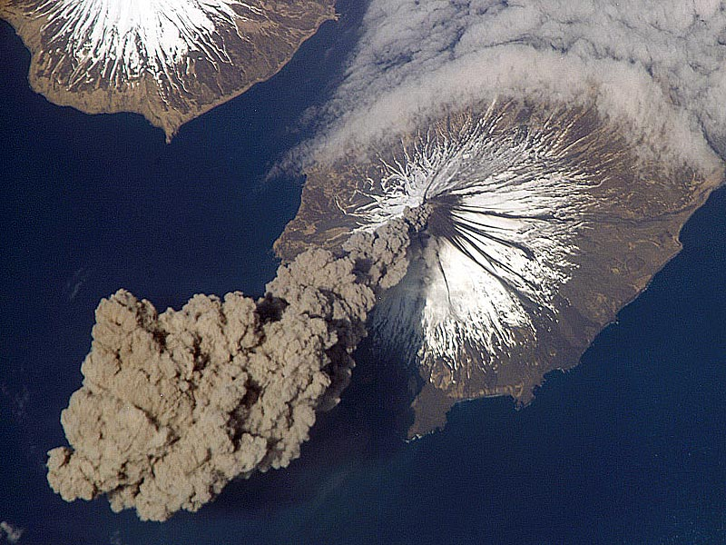 Alaskan Aleutian Islands. Awesome because this image was noticed, and captured from the International Space Station.