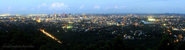 Brisbane Mount Coo-tha, Brisbane nocą