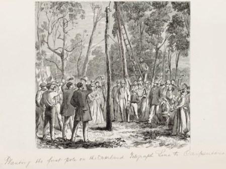 pierwszy słup linii telegrafu z Adelajdy do Darwin