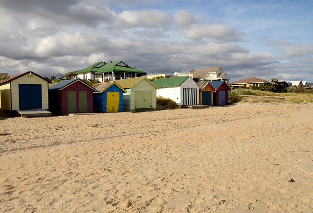 Plaża Edithvale zimą, Melbourne, Australia