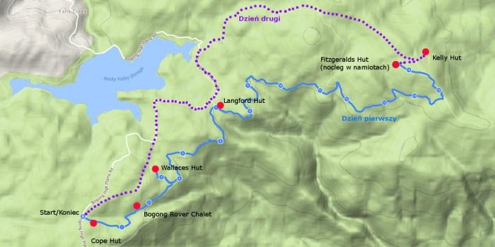 Mapa trekkingu w Bogong High Plains