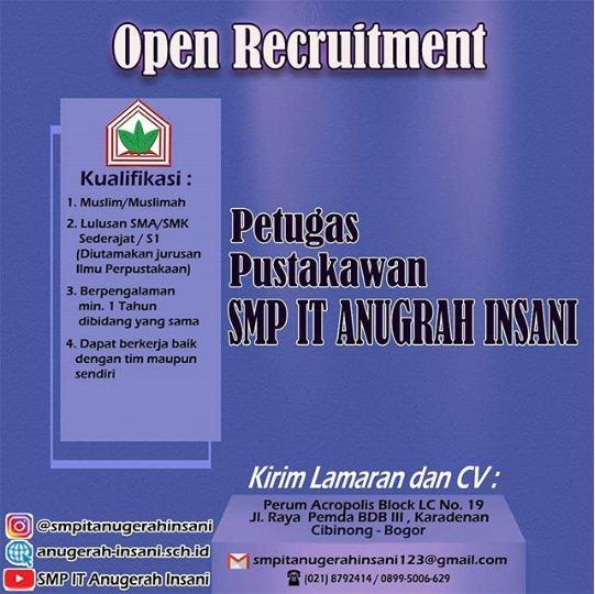 Open Recruitment Pustakawan SMPIT Anugerah Insani