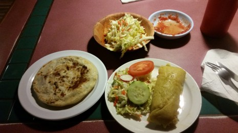 Dinner: Left to Right: Pupusa, Tamales
